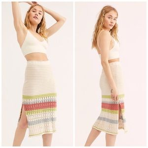 nwt //free people far from here crochet midi skirt